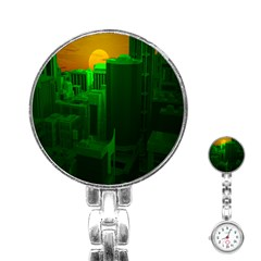 Green Building City Night Stainless Steel Nurses Watch