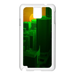 Green Building City Night Samsung Galaxy Note 3 N9005 Case (White)