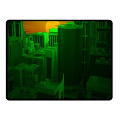 Green Building City Night Double Sided Fleece Blanket (Small)
