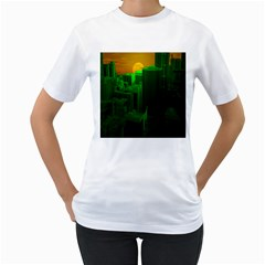 Green Building City Night Women s T-Shirt (White)