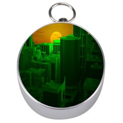 Green Building City Night Silver Compasses