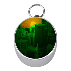 Green Building City Night Mini Silver Compasses
