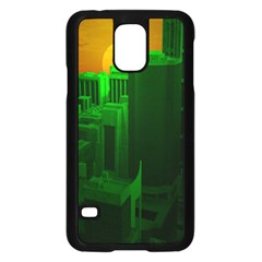 Green Building City Night Samsung Galaxy S5 Case (Black)