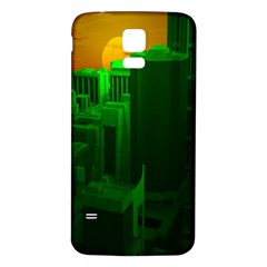 Green Building City Night Samsung Galaxy S5 Back Case (White)