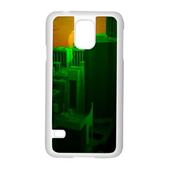Green Building City Night Samsung Galaxy S5 Case (White)