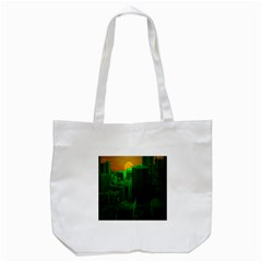 Green Building City Night Tote Bag (White)