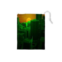 Green Building City Night Drawstring Pouches (Small)