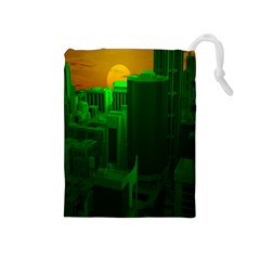 Green Building City Night Drawstring Pouches (Medium)