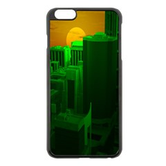 Green Building City Night Apple iPhone 6 Plus/6S Plus Black Enamel Case