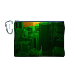Green Building City Night Canvas Cosmetic Bag (M)