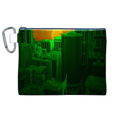 Green Building City Night Canvas Cosmetic Bag (XL)