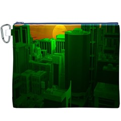 Green Building City Night Canvas Cosmetic Bag (XXXL)