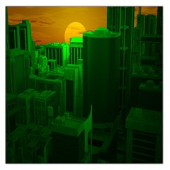 Green Building City Night Large Satin Scarf (Square)