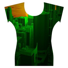 Green Building City Night Women s Cap Sleeve Top
