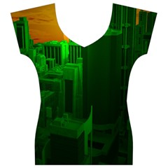 Green Building City Night Women s V-Neck Cap Sleeve Top
