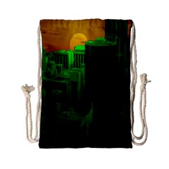 Green Building City Night Drawstring Bag (Small)