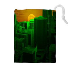 Green Building City Night Drawstring Pouches (Extra Large)