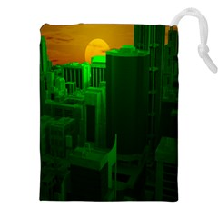 Green Building City Night Drawstring Pouches (XXL)