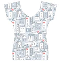 Houses Pattern Women s V-Neck Cap Sleeve Top