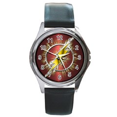 Flash Flashy Logo Round Metal Watch