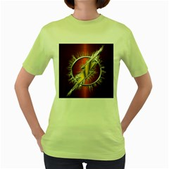 Flash Flashy Logo Women s Green T Shirt