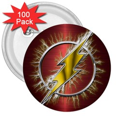 Flash Flashy Logo 3  Buttons (100 pack)