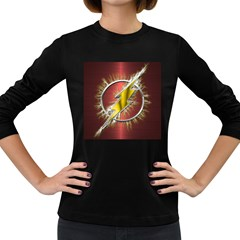 Flash Flashy Logo Women s Long Sleeve Dark T Shirts