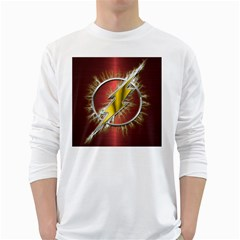 Flash Flashy Logo White Long Sleeve T Shirts