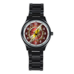 Flash Flashy Logo Stainless Steel Round Watch