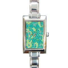 Cyan design Rectangle Italian Charm Watch