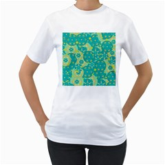 Cyan design Women s T-Shirt (White) (Two Sided)