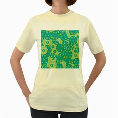 Cyan design Women s Yellow T-Shirt