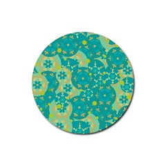 Cyan design Rubber Round Coaster (4 pack)