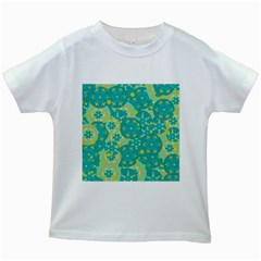 Cyan design Kids White T-Shirts