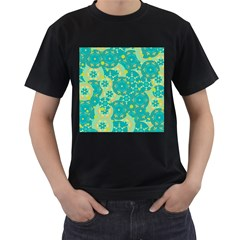 Cyan design Men s T-Shirt (Black) (Two Sided)