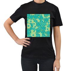 Cyan design Women s T-Shirt (Black) (Two Sided)