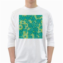 Cyan design White Long Sleeve T-Shirts