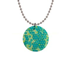 Cyan design Button Necklaces
