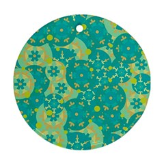 Cyan design Round Ornament (Two Sides)