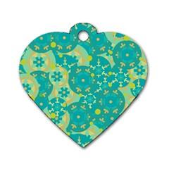 Cyan design Dog Tag Heart (One Side)