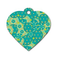 Cyan design Dog Tag Heart (Two Sides)