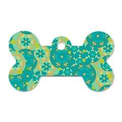 Cyan design Dog Tag Bone (One Side)