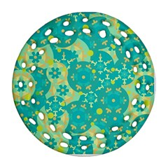 Cyan design Round Filigree Ornament (2Side)