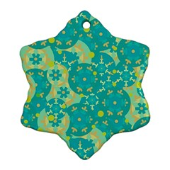 Cyan design Snowflake Ornament (2-Side)