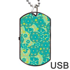 Cyan design Dog Tag USB Flash (One Side)
