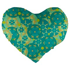Cyan design Large 19  Premium Heart Shape Cushions