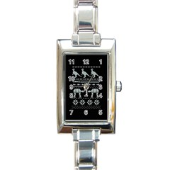 Holiday Party Attire Ugly Christmas Black Background Rectangle Italian Charm Watch
