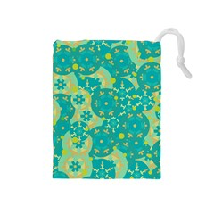 Cyan design Drawstring Pouches (Medium)