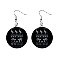 Holiday Party Attire Ugly Christmas Black Background Mini Button Earrings