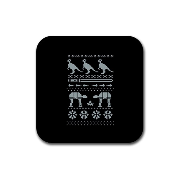 Holiday Party Attire Ugly Christmas Black Background Rubber Coaster (Square)